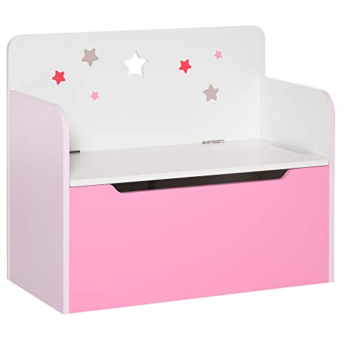 HOMCOM Wooden Kids Children Toy Box Storage Chest Bench Organizer Safety Hinge Bedroom Playroom Furniture Pink