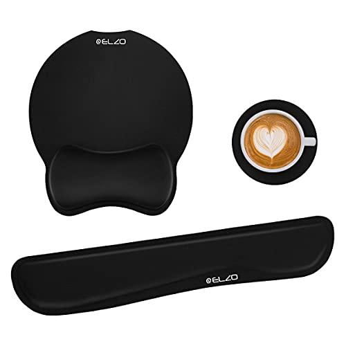 ELZO - Juego de soporte de reposamuñecas para teclado y alfombrilla de...