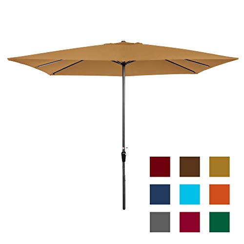 Best Choice Products 8x11ft Rectangular Patio Market Umbrella w/Rust-Resistant Frame, Hand Crank, Fade-Resistant 210G Polyester Fabric, and Wind Vent, Tan