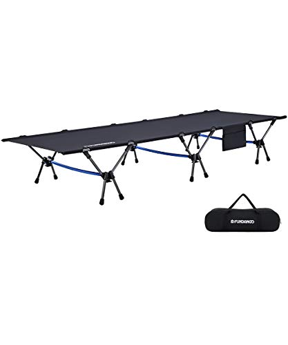 FUNDANGO Heavy Duty Lightweight Folding Camping Cot Bed, Height Adjustable Foldable Sleeping Cot for Adult, Hiking, Camping, Travel, Office Nap, Backpacking, Outdoor, Indoor,Support 330lbs