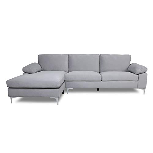 Gray Sectional Sofa with Lounger Chaise,JULYFOX Overstuffed Left Hand 3 Seater Velvet Fabric Couch L-Shaped Sofa with 2 Throw Pillows Extra Wide Pillow Armrest