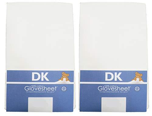 DK Glovesheets Two bianco lenzuolo per culla 83x 50cm fogli 100% jersey di cotone pettinato–specificamente progettato per adattarsi al materasso Next to Me–Confezione da 2