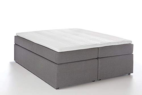 Furniture For Friends Möbelfreude® Boxspringbett Bella Hellgrau 180x200 cm H3, 7-Zonen Taschenfederkern-Matratze inkl. Visco-Topper, ohne Kopfteil