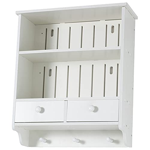 Waterproof Storage Unit with 2 Drawers Wall Mounted Cabinet Shelf with 3 Hooks White Small Space Sturdy Decorative Organisation Furniture for Bathroom Living Room Bedroom Kitchen Hallway