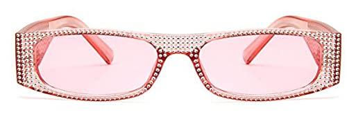 Gafas De Sol Gafas De Sol Cuadradas De Diamante para Mujer, Pequeñas Gafas De Sol De Cristal para Mujer, Espejo para Mujer, Gafas De Sol Uv400, Rosa Transparente