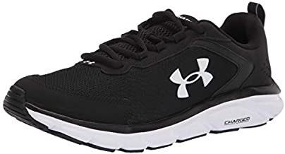 Under Armour mens Charged Assert 9 Running Shoe, Black/White, 10.5 US
