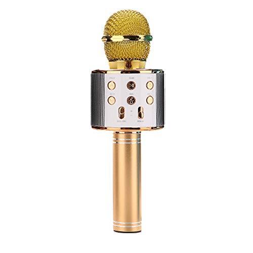 DXAI Bluetooth 4.1 Karaoke Micrófono, Portátil Inalámbrica Micrófono y Altavoz del Karaoke, Calidad de audio superior para cantar y grabar, el Hogar KTV, Compatible con Android y iOS (Oro)