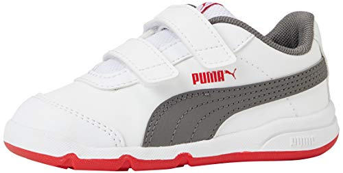 PUMA STEPFLEEX 2 SL VE V Inf, Sneakers Unisex-Bambini, Bianco White/Castlerock/High Risk Red, 26 EU
