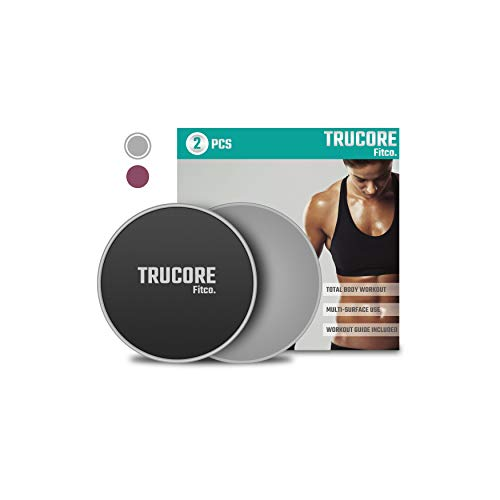 Trucore [2020 Upgrade] Premium Core Sliders - 2Pcs Dual Sided Fitness Sliders for Working Out | Exercise Sliders | Strength Slides | Workout Sliders | Gliders for Exercising | Beach Body Gliding Discs