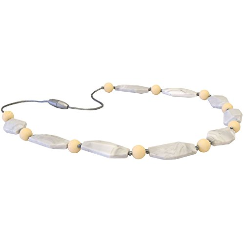Itzy Ritzy Silicone Teething Necklace Made of BPA-Free Food Grade Silicone Assorted Beads, Wheat Stone