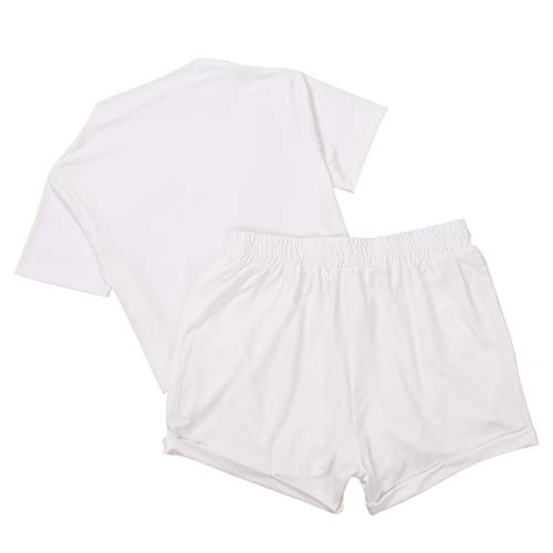 2 Pieces Set Women Textured Workout Shorts Sets Short Sleeve Crop Top + High Waist Short Pants Suits Biker Shorts Yoga Outfit,Casual Outwear Cloth Sets (White, Small)