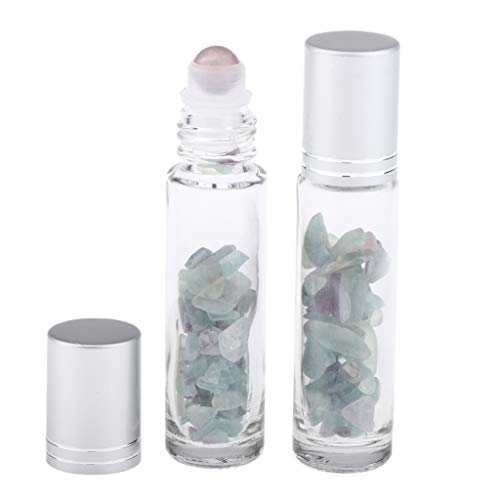 P Prettyia 2X Botella de Rodillo 10ml Botella de Cristal de Aceite Esencial con Bola de Rollo para DIY Perfume - Choi Jade Piedra