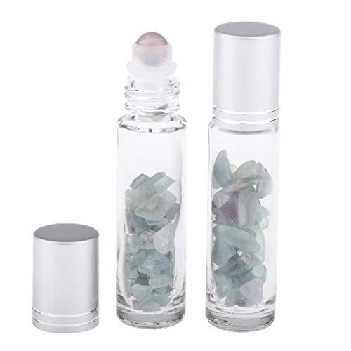 perfeclan 2Stk. Roller Flaschen Glasflaschen Mini Roller-Flaschen für ätherisches Öl, Parfüm, Nachfüllbar - Choi Jade-artiger Stein