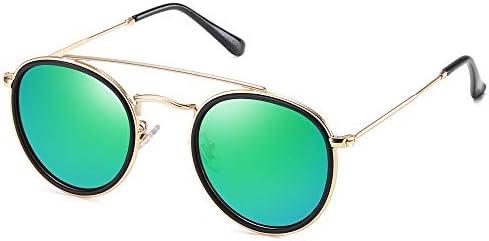 SOJOS Small Retro Round Polarized Sunglasses UV400 Double Bridge Sunnies SUNSET SJ1104 with product image