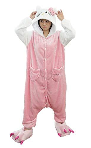 Dorliki Damen Herren Mädchen Jungen Pyjama Onesie Christmas Halloween Tier Kostüm Weiße Ärmel Hello Kitty M