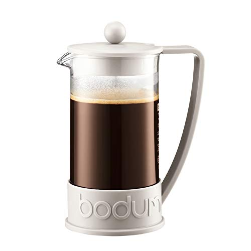 Bodum French Press System Brazil 8 Cups 1 L Cafetera émbolo, Vidrio, plástico, Blanco Crema, Centimeters