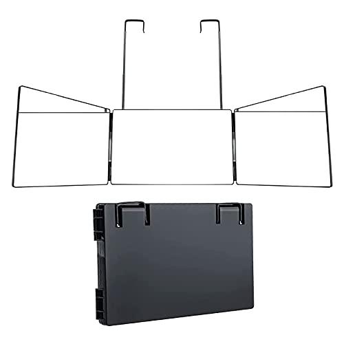 Con espejo de maquillaje plegable con luz LED, espejo de 3 vías, espejo de peluquería de tres pliegues, herramienta de corte de pelo DIY (sin luces LED)
