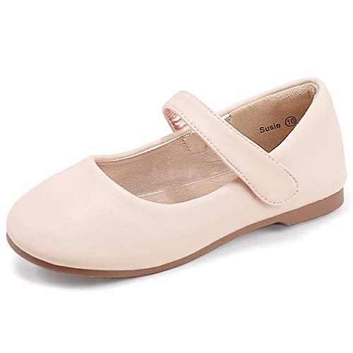 PANDANINJIA Toddler/Little Kid Girl's Susie Dress Mary Jane Ballet Flats Ballerina Flat Shoes for Wedding Party School (Beige Pu, 11 M US Little Kid)