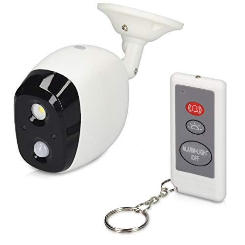 Navaris Allarme sensore movimento PIR con telecomando - Antifurto rilevatore di presenza - Sirena 120dB segnale luminoso orientabile uso esterno IP44