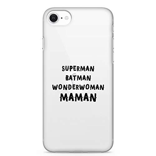 ZOKKO Coque iPhone Se Superman Batman Wonderwoman Maman - Souple Transparente Encre Blanc