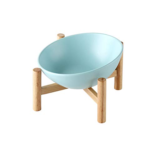 LIONWEI LIONWELI Blue Ceramic Tilted Elevated Raised Pet Bowl with Wood Stand for Cats and Dogs No Spill Pet Food Water Feeder Large