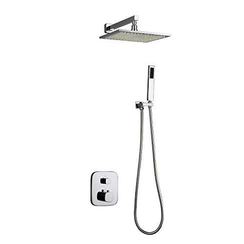 YAMMY Sistema de ducha de baño, con displa LED de temperatura, juego de mezclador de lluvia con cabezal de ducha cuadrado, grifo de mano y bañera de agua, acabado cromado