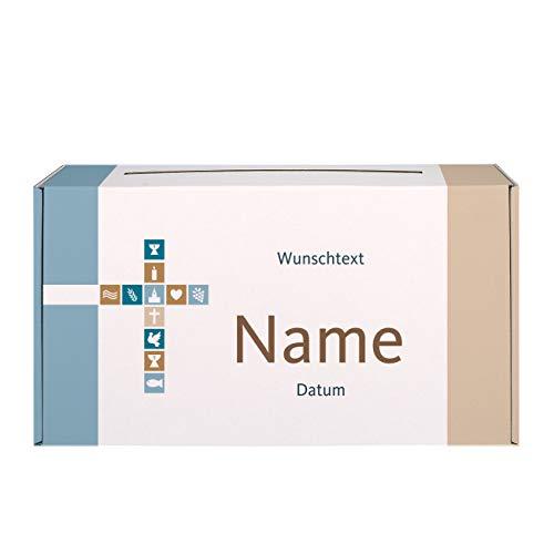 Herz & Heim® Briefbox zur Taufe/Kommunion/Konfirmation mit Namen und Datum Bedruckt für Mädchen oder Jungen Motiv: Kreuz 2