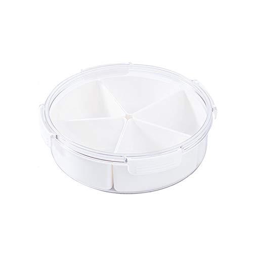 YUMEIGE Kosmetische Aufbewahrungsbox Kühlschrank-Speisenkasten, Küchenlager-Behälter für Gemüse- und Fruchtsalat, Gefrierfach mit Deckel (Color : Round, Size : Division)