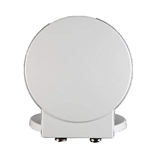 DNSJB-Toilettensitz-Toilettendeckel Mit Antibakteriellem Harnstoff-Formaldehyd-Harz Stumm Verdicken Toilettensitz-Abdeckung Für Runde Form-Toilette (Color : White, Size : 41.1)