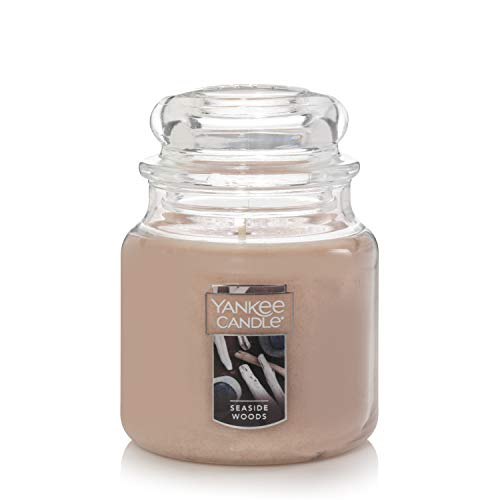 Yankee Candle Medium Jar Seaside Woods Scented Premium Grade Paraffin Candle Wax with up to 75 Hour Burn Time