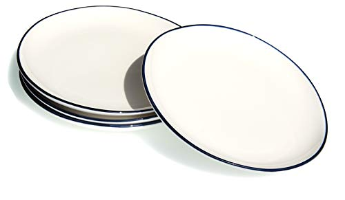 GOTO Blue rim Ocean Wave Piatto medio in ceramica bianca 22cm X4