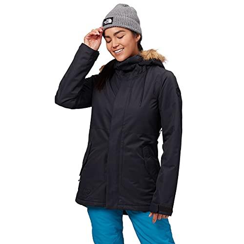 Volcom Women's Fawn Insulated Snowboard Ski Winter Hooded Jacket, black, Medium