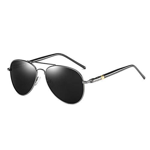 Sunglasses Gafas De Sol Polarizadas Retro para Hombre, Conducción Clásica, Gafas De Sol Ovaladas De Metal Negro Vintage, Gafas De Sol para Hombre, Marca De Diseñador, PIS