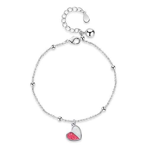 1 stuks armband dames zilver 925 eenvoudige roze hart gelukkige armband eenvoudige bedelarmbanden verjaardagsgeschenk voor vrouwen mama dochter