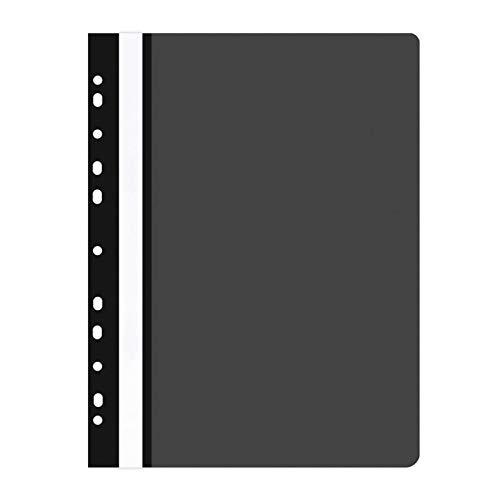 OFFICE PRODUCTS 21104121-05 Plastik Schnellhefter Gelocht, A4 Schwarz, Sichthefter Kunststoff aus PP-Folie 100/170 μm, mit transparentem Deckel, für Büro und Schule, Fassungsvermögen ca. 250 Blatt