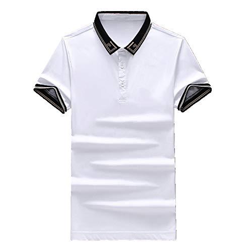 Revers Lapel - Camiseta de manga corta para hombre Blanco XXL