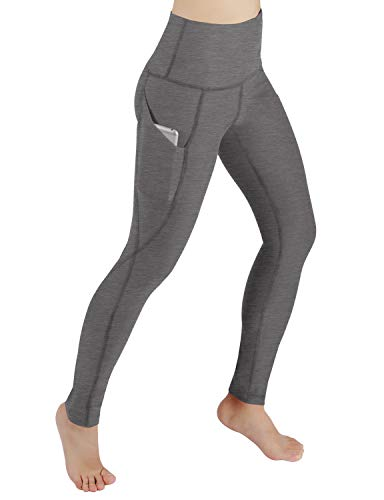 ODODOS High Waist Out Pocket Yoga Pants Tummy Control Workout Running 4 Way Stretch Yoga Leggings,Gray,Small