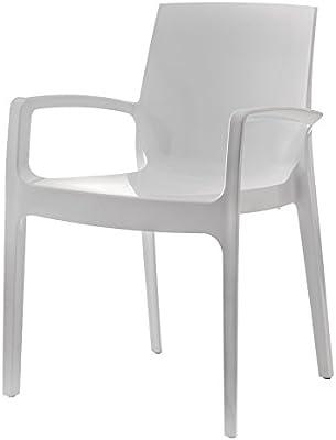 LEBER 2 x sillón MANEL diseño en Resina Ideal terrazas y hostelería (Blanco): Amazon.es: Jardín