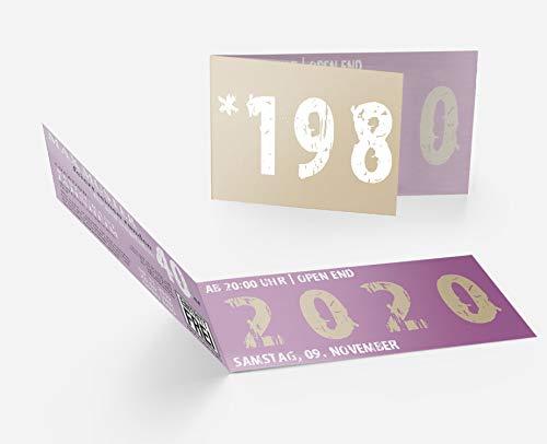 Runder Geburtstag Einladungskarten 40 Jahre Geburtstagseinladungen - Zeitsprung Einladung für runden Geburtstag 40er Feier Lila-Beige (30)