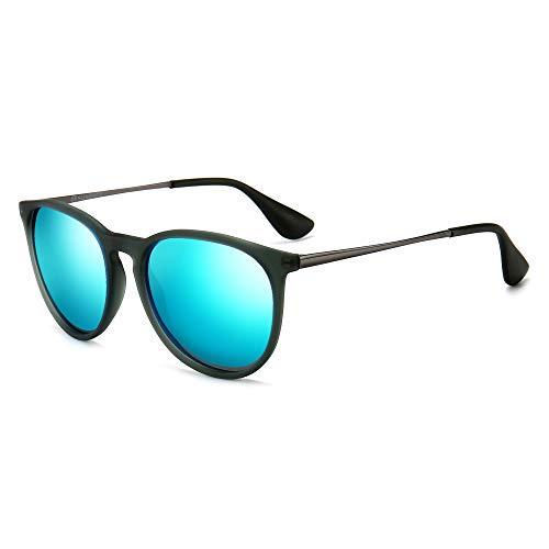 SUNGAIT Vintage Round Sunglasses for Women Classic Retro Designer Style(Transparent Gray Frame/Blue Mirror Lens)