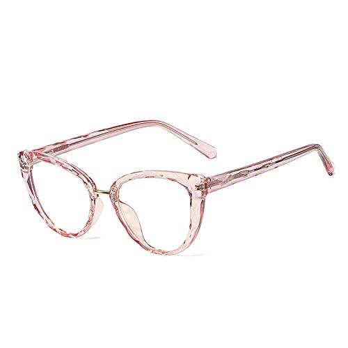 Gafas Luz Azul,Retro Tr90 Cat Eye Clear Anti Blue Light Eyewear, Marco De Anteojos De Moda para Mujer, Marco Óptico con Bisagra De Resorte para Hombre, Rosa, Talla Única