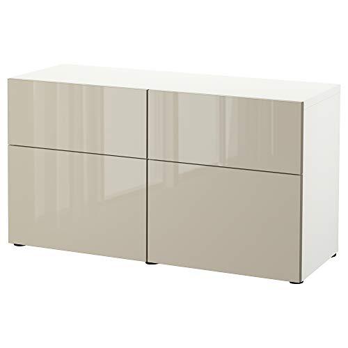 BESTå Kommode mit Türen / Schubladen 120x42x65 cm weiß/Selsviken hochglänzend/beige