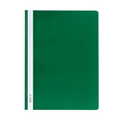 Herlitz 975458 Schnellhefter A4 PP mit transparentem Vorderdeckel, 10 Stück, grün