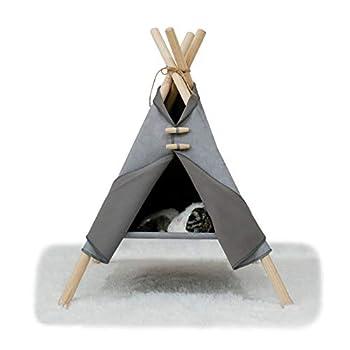 Tentes pour Chats Tipi Amovible Maison De Chat Stable Lavable pour Petit Chat De Moins De 6 Kg, Intérieur Extérieur 55 X 52,5 X 72 Cm (Gris)