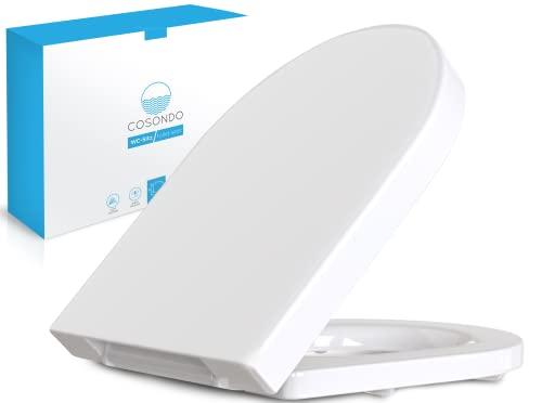 Cosondo PREMIUM Toilettendeckel - WC Sitz mit Absenkautomatik - Klodeckel D-Form weiß - Hochwertige Klobrille - Toilettensitz Klo Deckel abnehmbar - Einfache Reinigung - Toilettenbrille Duroplast