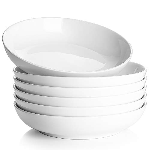 DOWAN Pasta Bowls, White Soup Bowls 30oz, Large Salad Bowls Set, Porcelain Pasta Plates and Bowls, Wide and Shallow Bowl Set of 6, Microwave and Dishwasher Safe