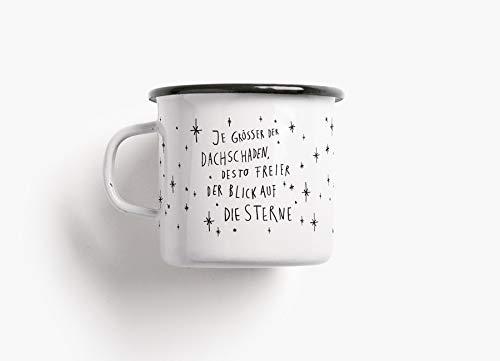Emaillebecher Tasse - Dachschaden - von typealive - Becher in schwarz und weiß mit lustigem Spruch zum Campen, für Weihnachten oder Geburtstag