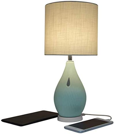 Macally Bedside Table Lamp with USB Port Cozy meets Modern USB Lamp with Unique Ceramic Base product image