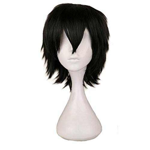 Women Short Fluffy Density Wigs, Black Wigs, Synthetic Heat Resistant Costume Hair Head Full Wig, Natural Look, 35cm
