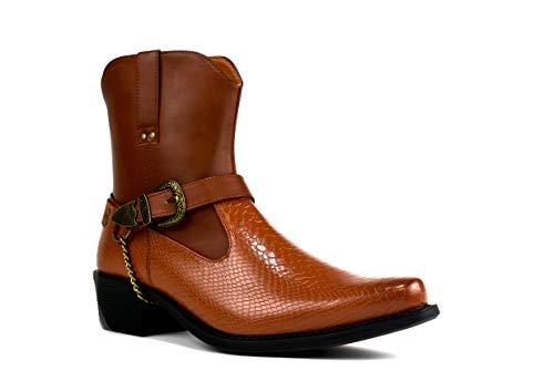 Botas de vaquero de tacón cubano para hombre, con hebilla de cadena, talla 6-12, color Marrón, talla 45 EU
